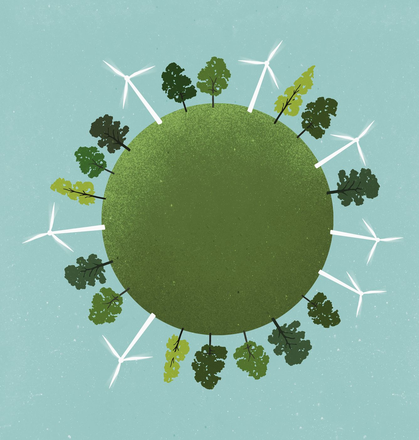 little planet image of windmills and trees on field against sky
