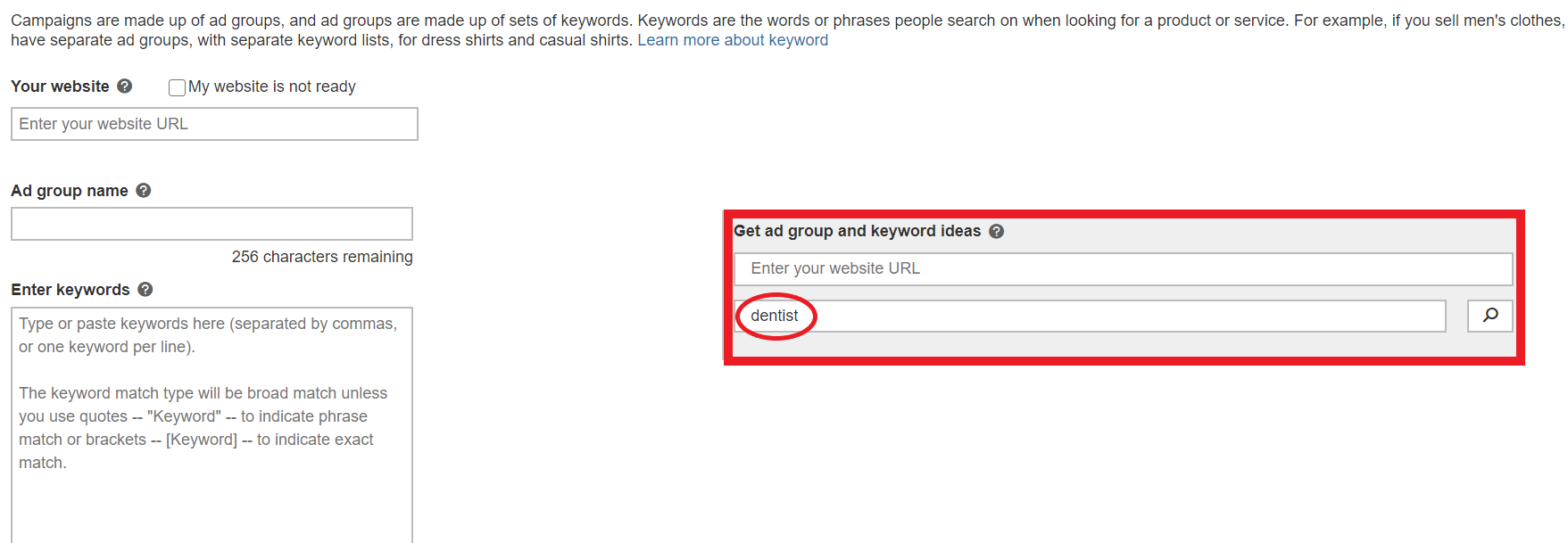 example of keyword ideas for core topic on bing ads.
