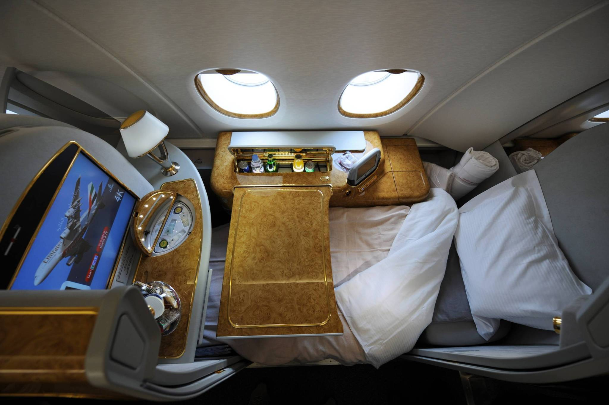 A first class seat configured for sleeping aboard an Emirates Airlines A380 on August 1, 2008. Emirates becomes the first commercial Airbus A380 jet to land in the United States at JFK International Airport in New York. The A380 is the world