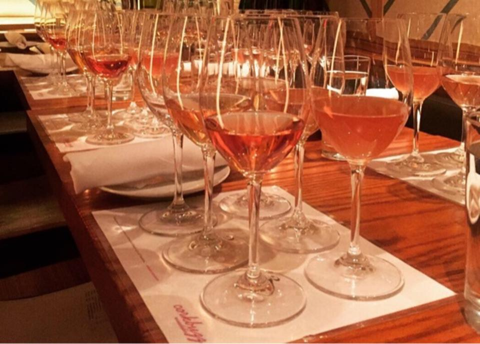 Table setting for Charles Springfield's rosé class at Corkbuzz in New York City.