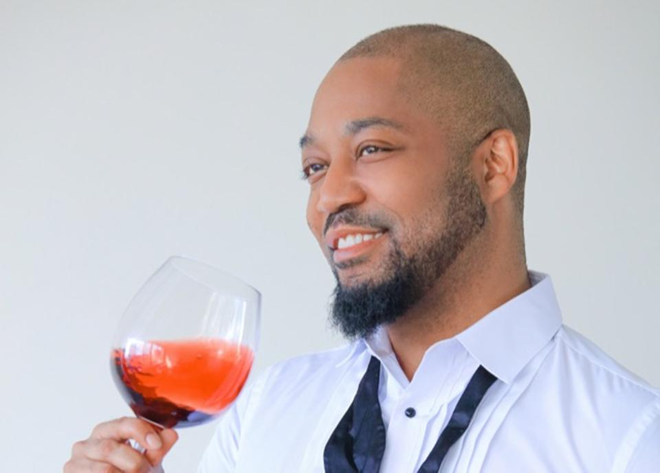 Sommelier and author Charles Springfield enjoying a glass of rosé.