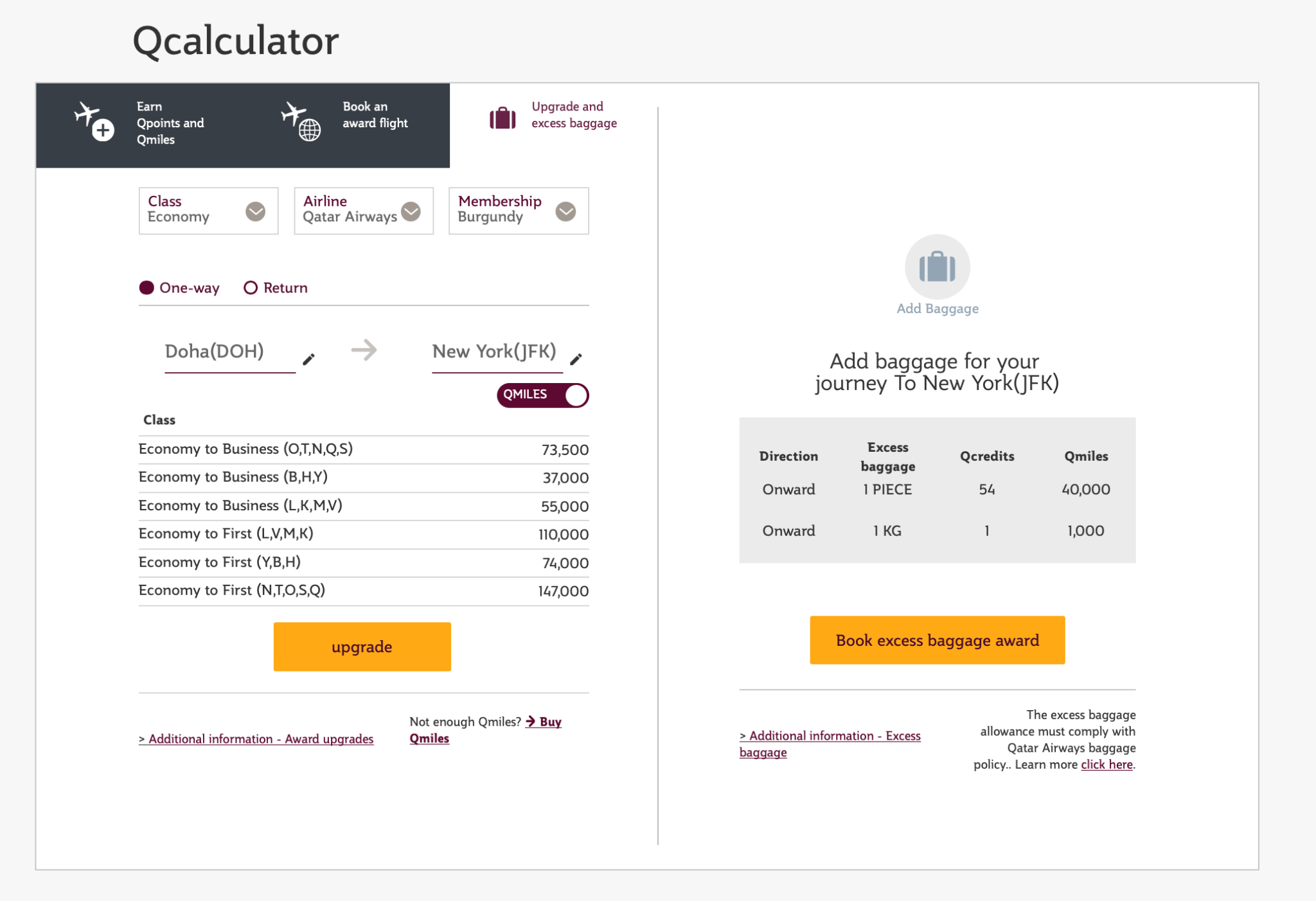 Pricing DOH to JFK Upgrades From Economy