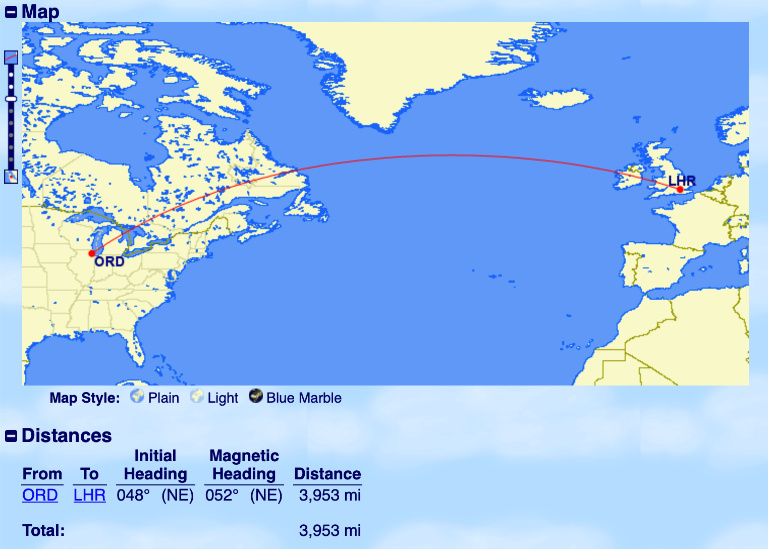 ORD to LHR On GCMap
