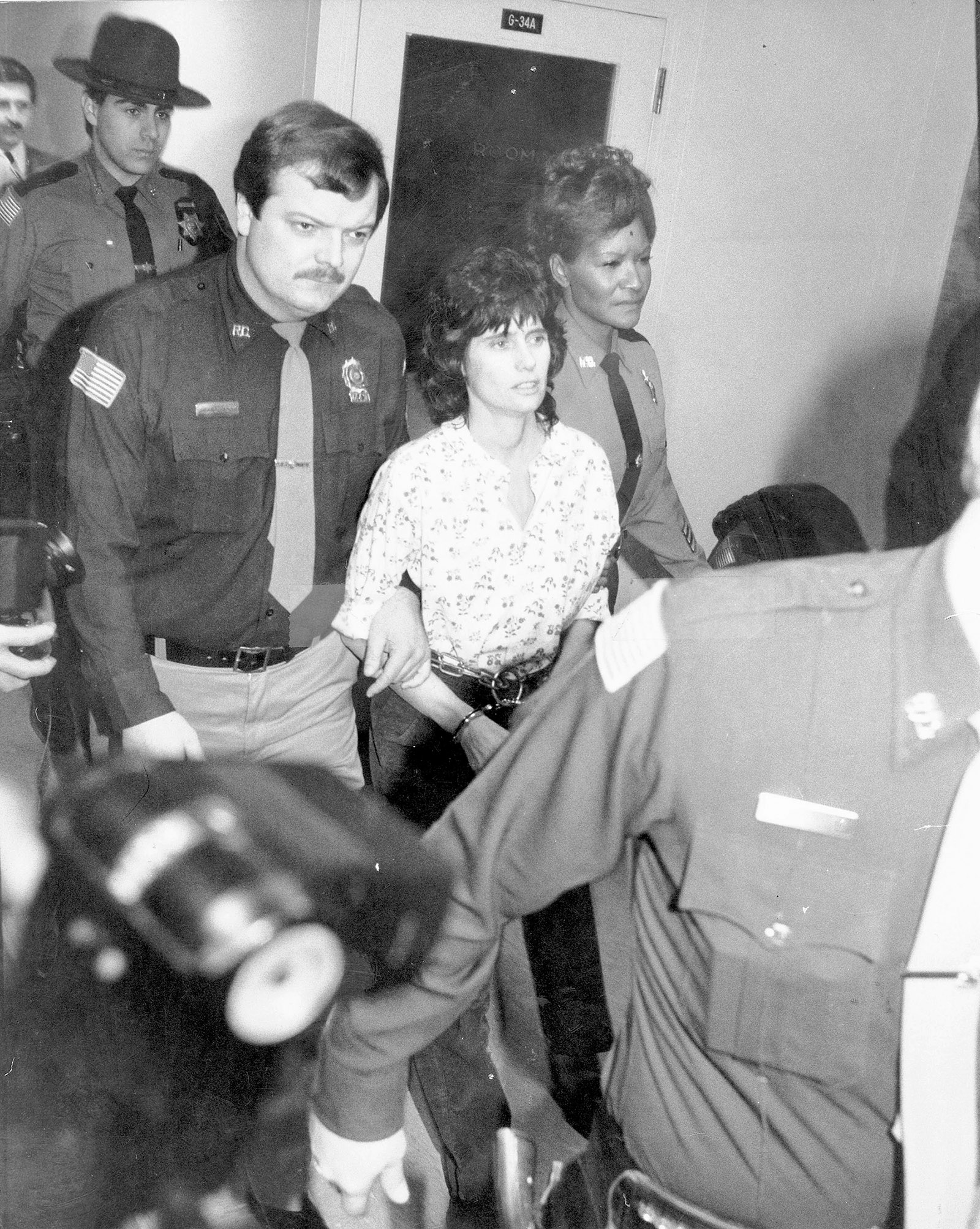 Kathy Boudin at an arraignment for her involvement in an armed robbery and shootout by members of the Black Liberation Army, New City, New York, 1981