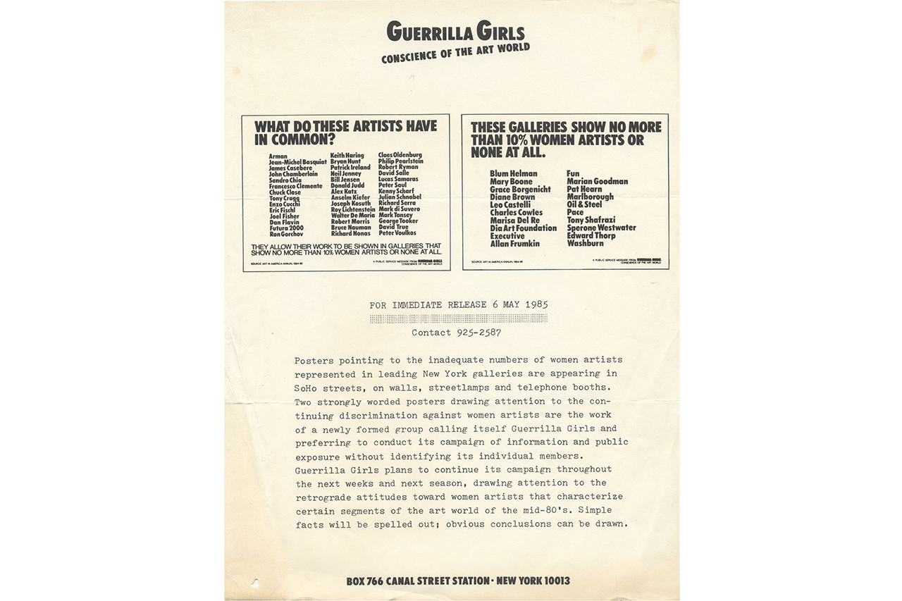 Guerrilla Girls: The Art of Behaving Badly, published by Chronicle Books 2020 art activism black lives matter racism sexism museum kathe kallowitz frida kahlo gorilla